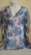 Baby Phat Swimsuit Cover-up Sheer Top Floral Logo Print Womens M/L NWT $72 New