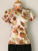 Traditional Asian Chinese Women Short Sleeve Shirt Top with Mandarin Collar