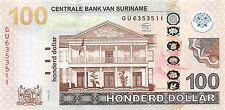 Suriname 100 Dollar 2012 Unc Pn 166b