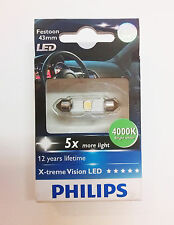 1 X PHILIPS X-TREME VISION LED 129454000KX1 Festoon 43mm 4000K 12V white SINGLE
