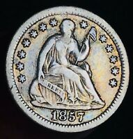 1857 O Seated Liberty Half Dime 5C High Grade Good Date US Silver Coin CC7048