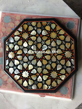 """24"""" Marble Coffee End Table Exclusive Abalone Inlay Stone Garden Furniture H5391"""