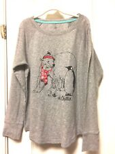 Sonoma Girls Top L Large Just Chillin Long Sleeve Gray Penguin Bear