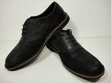ANDREW MARC Black Dorchester Saddle Burnished Leather Lace-Up Shoe size 11 D