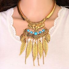 Bohemian Vintage Silver or Gold Statement Feather Tassle Semi Torque Necklace