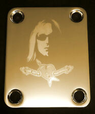 Engraved Photo Etched GUITAR NECK PLATE - Fits Fender - TOM PETTY - Gold