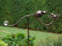 Gartenstecker Windspiel  Gartendeko Metall Pflanzenstecker  Vogel