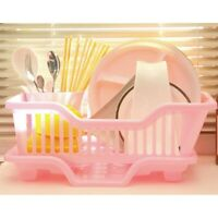 Environmental Plastic Kitchen Sink Dish Drainer Set Rack Washing Holder Bask W5E