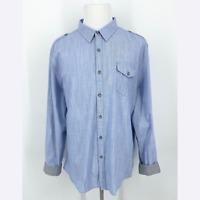 DKNY JEANS Blue Button Up Shirt Flip Contrast Grey Cuff Roll Tab Long Sleeve NWT