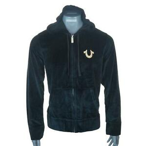 New Authentic Men's True Religion Stunning Velour Zipped Hoodie Sweatshirt Black