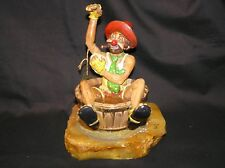 Rare Ron Ronald Lee Clown Bathing In Barrel Sculpture 24Kt Gold Plate Onyx 1981