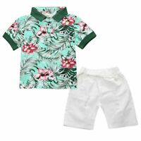 2PCS Toddler Baby Boys Suits tops/shortsSet Kids Clothes Outfits (2 Color)
