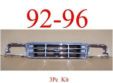 92 96 98 Ford Truck Bronco 3Pc Chrome Grill & Head Light Door Kit F150 F250 F350