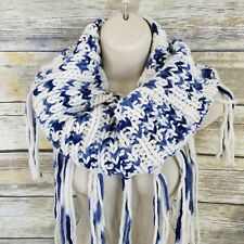 NWT Bay Sky Blue White Infinity Scarf Circle Winter Soft Knit Cowl Neck Tassel