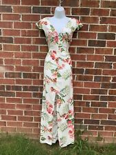 New Forever 21 White Tropical Floral Hawaiian Size Medium Maxi Dress Front Slit