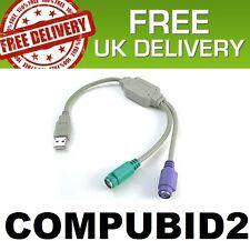 NUOVO USB 2.0 A PS2 Cavo Lead Adattatore Mouse tastiera SPLITTER UK Stock, SPEDIZIONE GRATUITA