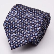 NWT $205 ERMENEGILDO ZEGNA Silk Tie Navy-Sky Blue Printed Star Pattern