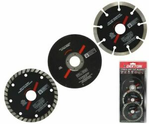 3pc 115mm Grinder Dry Cut Blade Disc Turbo Diamond Tipped Metal Marble