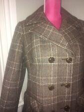 Vtg WEILL Paris Tan Tweed Plaid Wool Coat ML 44 Bust