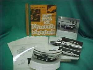 Rare Vintage 1967 Original Plymouth Barracuda Cuda Press Kit Release B&W Photos
