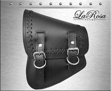 La Rosa Harley Softail Rigid Black Leather Cross Lace Left Swing Arm Saddlebag