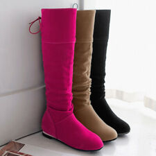 Women's Slouch Knee-High Boots Low Heel Push On Suede Casual Warm Flat Booties