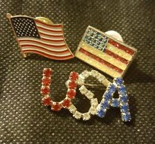 Theme 4th of July Lot of 3 Pins: American Flag/ Usa red white blue Rhinestones