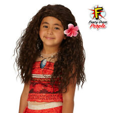 Girls Moana Wig Hawaiian Disney Princess Book Week Fancy Dress Costume Accessory