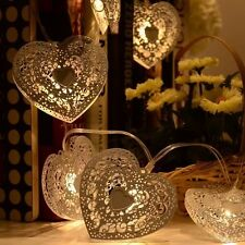 20 x Battery Metal Moroccan Heart LED Fairy String Lights Warm White shabby chic