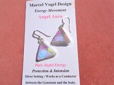 Vogel Angel-Opal Aura Quartz Triangle Silver Earrings-Wonderful Joyful Energy
