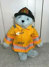 "Vermont Teddy Bear Baby Blue Plush HTF 16"" w/ Yellow Fireman's Costume & Helmet"