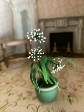 Vintage Miniature Dollhouse Artisan Flowering House Plant Porcelain Green Pot