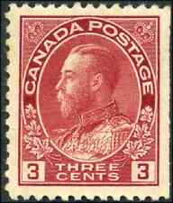 Canada #109 mint VF OG H DG 1923 King George V 3c carmine Admiral Die I CV$30.00