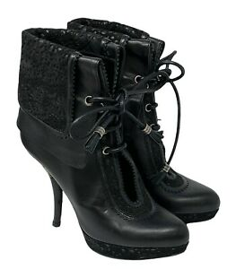 Christian Dior Lace Design Ankle Boots Heels #36 US 6 Black Leather RankAB