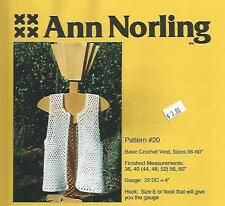 "Adult Basic Crochet Vest (36""-60"") Instruction Pattern Ann Norling"