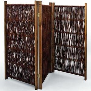 Noor Paravent aus Weide Sichtschutz 3-teilig 120 x 180 cm Weidenparavent Garten
