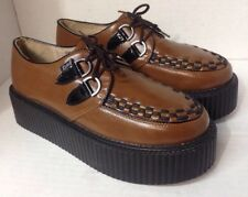 RoseG Autumn Brown Leather Womens Platform CREEPERS Lace Up Shoes Punk Goth Sz 8
