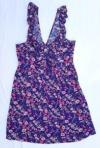 AS NEW Lipsy Sz 12 Dress Sleeveless Purple Floral Print Casual Event Day Ruffle