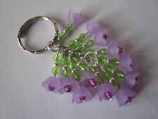 Keyring / Bag Charm - Purple / Lilac Flowers