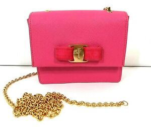 *Chain Broke!* Salvatore Ferragamo Ginny Crossbody Saffiano Leather Mini Fuschia