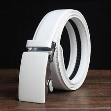 Mens White Leather Golf Belt Waistband Strap With Automatic Alloy Buckle