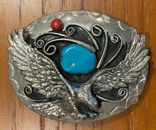 Vintage Silver Native American Indian Eagle Turquoise and Carnelian Belt Buckle