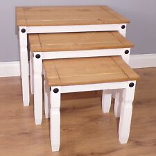 Corona White Nest of Tables 3 Side End Tables by Mercers Furniture®
