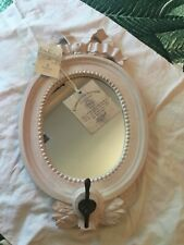 BRAND NEW SHABBY CHIC STYLE PINK OVAL MIRROR WITH HOOK