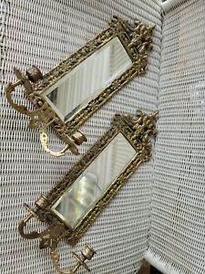 """PAIR ANTIQUE MIRROR & BRASS CANDLE HOLDER WALL SCONES GILT DOLPHINS 20 X 10"""""""