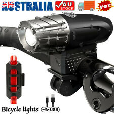 USB Rechargeable LED Bike Headlight MTB Cycle Bicycle Front Back Rear Tail Light