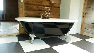 Nostalgie Badewanne Carlton Black Acryl schwarz/weiß, 175.5x78.5cm,