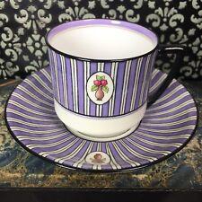 Art Deco Royal Doulton Robert Allen Studios Purple Tea Cup & Saucer Set AS IS