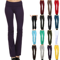 High Quality Thick Cotton Solid Fitness Yoga Pants Fold Over Waistband XS S M L