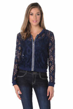 Lace Jacket Coat Bomber Top Navy Blue Small Size EU36